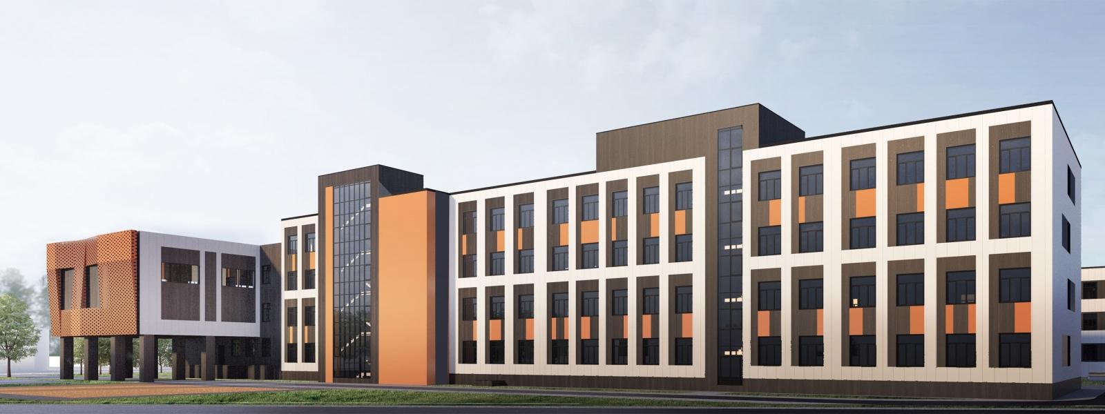 work-Проект фасада здания гимназии №3 по ул. Детский проезд 10, в Советском районе Новосибирска (Академгородок)